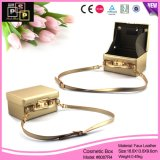 Gold Color Luxury PU Leather Hand Bag Maquiagem Box (8087)