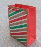 Bolsa de papel de empaquetado del regalo de la impresión del diseño de la raya