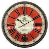 كلاسيكيّة أحمر أثر قديم غلّة كرم مستديرة خشبيّة جدار زخرفة ساعة