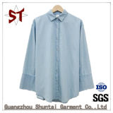 Camisa fêmea da sarja de Nimes do polo da forma quente da venda