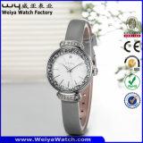 ODMの革バンドの水晶方法女性腕時計(Wy-084C)