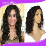 Объемной волны волос волос девственницы человека верхнего качества 100% парик шнурка бразильской полный