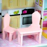 Casa de muñeca de madera rosada del juguete de DIY para los cabritos