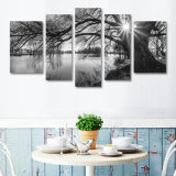 Black and White Painting decaying Canvas print 5 panels Landscape barrier kind