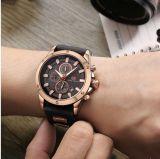 Caixa de aço inoxidável Assista a vigilância em pele genuína para homens de relógio de quartzo OEM