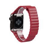 Bracelete de Link em pele genuína com fecho magnético para a faixa de relógio da Apple