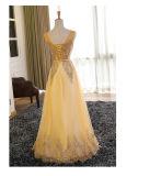 Preiswertes Großhandelsgoldbrautjunfer-Partei-Dame-Abend-Kleid