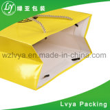 형식 넓은 삼각천을%s 가진 관례에 의하여 인쇄되는 편평한 손잡이 백색 Kraft 종이 운반대 부대