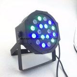 Luz da PARIDADE do diodo emissor de luz da iluminação DMX512 18X3w RGB do estágio