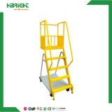 Seguridad de acero de las escaleras movibles del carro del supermercado del almacén que rueda el carro móvil de la escala de la plataforma