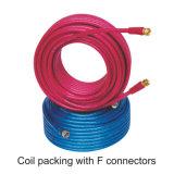 Un rendimiento superior RG6 Cable con conectores chapados en F para satélite Digital TV VCR