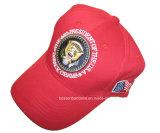 中国の工場農産物のカスタムLEDライトが付いているロゴによって刺繍されるBlack&Redの綿のあや織りの野球帽