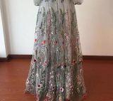 A - a linha baile de finalistas longo inchado do bordado das luvas do vestido de noite da flora veste Lb1836