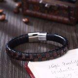 Edelstahl-Mann-Magnet-Armband-magnetische Faltenbildung-Mann-ledernes Armband