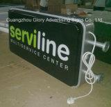 Loja acrílica iluminada e anúncio da caixa leve do diodo emissor de luz