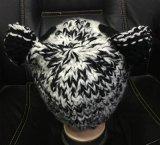 Chapeau Hand Knitted de panda, Beanie perlé de Knit, Headwear fabriqué à la main
