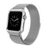 Cinta de aço do laço milanês do engranzamento com frame para o relógio de Apple