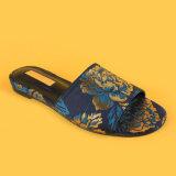 여자를 위한 숙녀 Blue Embroidery Low Heel 우연한 슬리퍼