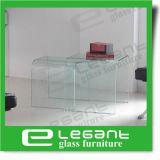 Tavolino da salotto di vetro curvo grigio semplice intercalare