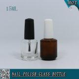 15ml effacent la bouteille en verre personnalisée ambre de clou de couleurs de gel de pétrole UV vide de polonais avec le chapeau blanc noir de balai