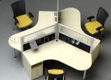La moda de vidrio utilizado en forma de madera de la partición de la Oficina Escritorio Estación de trabajo (SZ-WST614)