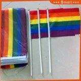 小さい虹ポリエステルファブリック中国手のフラグ