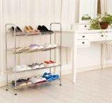 調節可能なホーム記憶4の層によって傾けられる金属の靴ラック棚