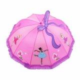 創造的な3D傘の美しいピンク3Dの漫画のGrilの子供の傘の子供は長く赤ん坊雨ギヤのための傘の王女を扱う