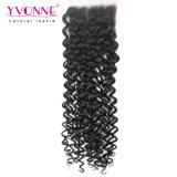 Encierro brasileño rizado malasio 4X4 del cordón del pelo humano de Yvonne