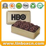 El metal rectangular puede estaño del chocolate con la impresión que barniza de oro 4c
