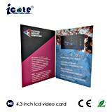 Tarjeta de felicitación video suministrada fábrica pantalla del LCD de 4.3 pulgadas