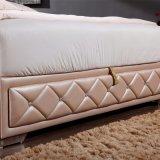 Кровать кожи мебели спальни конструкции двойной кровати способа самомоднейшая (FB2103)