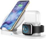 Carregador sem fio 3 em 1 Qi 10W Suporte para carregamento sem fios compatível para Apple Iwatch 1/2/3/4, Airpods, iPhone 12 11/11 PRO Max/X/Xs max/8, carregador de telemóvel
