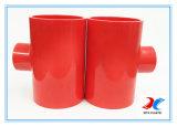 OEM Rode UPVC die T-stuk met 25400mm verminderen