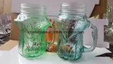 vaso di muratore di vetro di disegno 480ml di figura unica di Fox con la maniglia
