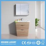 Piso de madeira montado na casa de banho com espelho de acabamento laminado e fecho suave Syestem Molding HS-UM1104-800