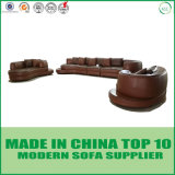 Wood TrimのDivani Casa Rounded Corner Leather Sectional Sofa
