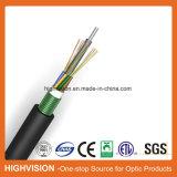 Camadas de fita de aço tubo solto no exterior do cabo de fibra óptica