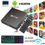 Androider Fernsehapparat-Kasten mit drahtlose Tastatur Amlogic S905X Sunnzo 2GB RAM/16GB gesetztem Spitzenkasten ROM-Kodi 17.3