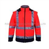 Mens des vêtements de sécurité réfléchissant haute Visible veste soft shell