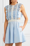 Qualitäts-reizvolle Frauen-Guipurespitze-Spitze und Popelin-Minisommer-Kleid