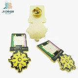 ばら積み品はダイカストの柔らかいエナメルの金の願いのカスタム花の折りえりピンを