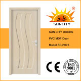 Preço mais barato Waterproof MDF PVC Toilet Door with Glass (SC-P075)