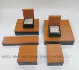 Rectángulo de regalo brillante de madera de lujo del conjunto de la colección del anillo