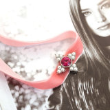 Alliage rose noir de velours avec le collier de bijou de mode de Rhinestone de perle