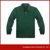 Camice di polo lunghe unisex del manicotto del cotone verde poco costoso dei commerci all'ingrosso (P49)
