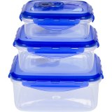 3 in 1 contenitore di memoria Airproof stabilito dell'alimento che chiude il contenitore a chiave di alimento dei coperchi, memoria di plastica del pasto