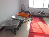 Green Color Galvanized Metal Tray Rubber Wheel Barrows