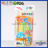 Bar Party Neon Color Plastic Artistic Drinking Straws