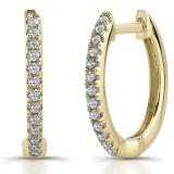 최신 판매 금에 의하여 도금되는 보석 925의 은 굴렁쇠 귀걸이